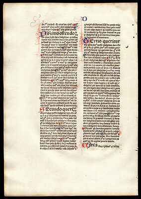 Incunable Leaf 1477 Commentary on  Sentences of Peter Lombard Bishop of Paris