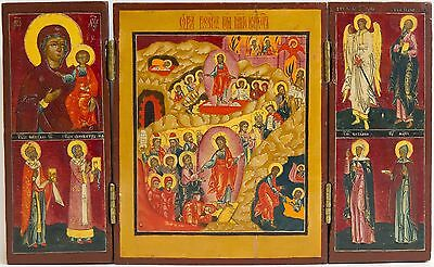 Old Antique Russian Icon Triptych of Resurrection, Mother Of God & Saints
