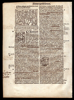 1514 New Testament Bible Leaf Acts 1-2   Woodcut of The Apostles Pentecost