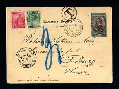 15449-ARGENTINA-OLD POSTCARD BUENOS AIRES to FRIBOURG (switzerland) 1901.Tarjeta