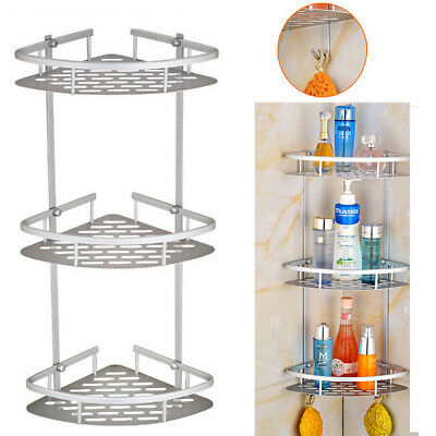 3 Tier Aluminum Bathroom Corner Shower Shelf Rack Organiser Bathroom Accessory C
