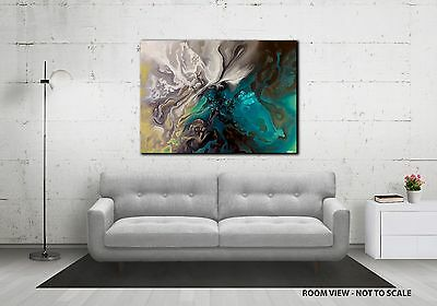 Large Original-  Abstract Canvas Painting - Grey White Turquoise - Challinor Art