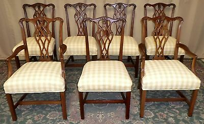 MAHOGANY CHIPPENDALE DINING CHAIRS Carved Backs Gingham Upholstered SET OF 7