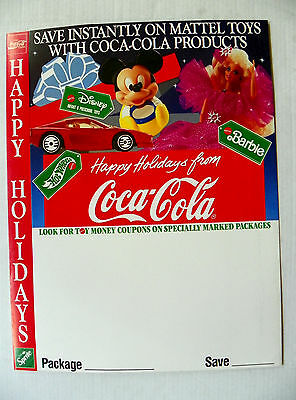 "1990 ""happy Holidays From Coca Cola"" Save Instantly On Mattel Toys Poster"