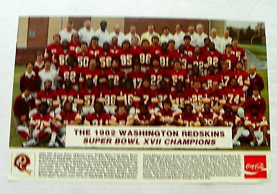 "1982 Coca-Cola ""washington Redskins ~ Super Bowl Xvii Champions"" Poster"