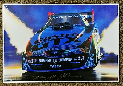 "New Kenny Youngblood Signed ""the Force"" Night Flames Funny Car Print"