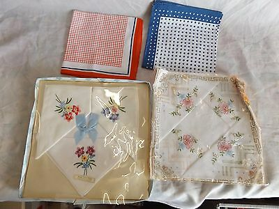 Lot of Vintage Cotton or Linen Handkerchiefs ~ 1950s 1960s Mint Unused