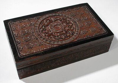 Intricate Antique Chinese Carved Wooden Box Circle Medallion Geometric Pattern