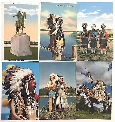 T8808       Native   American   Postcard Lot,      6  Dif.  Indian     Cards