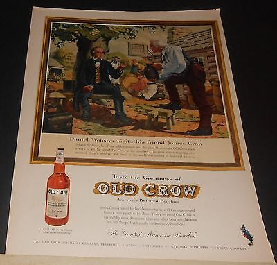 1959 Old Crow Kentucky bourbon whiskey print Ad DANIEL WEBSTER visits distillery