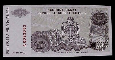 1993 Croatia 500 Million Dinara Banknote P R26 Serial # A0093583