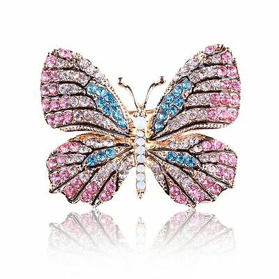 Multi-Color Women Jewelry Bridal Crystal Pin Rhinestone Butterfly Brooch