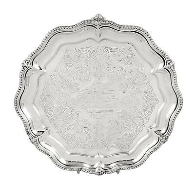 """Antique Victorian Sterling Silver 8"""" Tray/salver - 1881"""