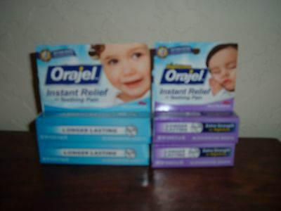4 New Orajel Instant Relief Regular & Nighttime Teething Pain Cherry 9/18-2/19