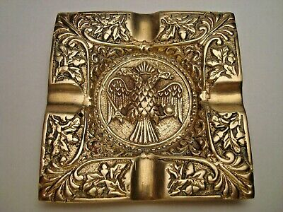 Greece vintage solid brass ashtray with Byzantine Double-Headed Eagle #4