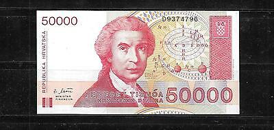 CROATIA #26a 1993 UNC OLD 50000 DINARA BANKNOTE BILL NOTE PAPER MONEY CURRENCY