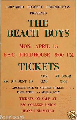 THE BEACH BOYS Edinboro Fieldhouse Concert Window Poster / Handbill 1974 reprint