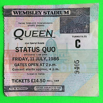 Queen - Rare Used Original Ticket From Wembley Stadium- 11 July 1986 (9405)