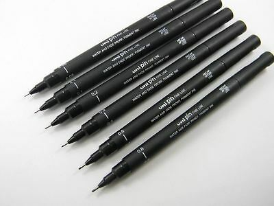 Uni Pin Drawing Pens 0.05 - 0.8 - 9 Different Nib Sizes - Black Ink