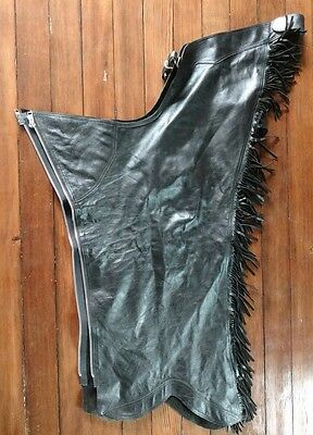 Western Show Equitation Chaps - Black Smooth Leather - Lightly Used - Medium