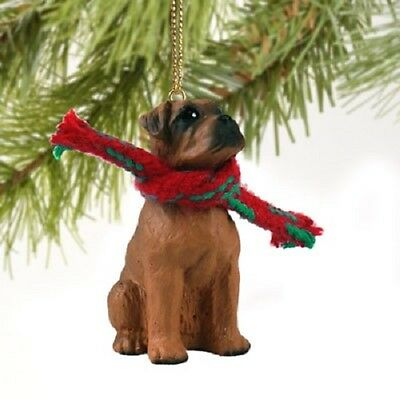 BOXER dog HAND PAINTED ORNAMENT Figurine NEW Tawny UNCROPPED puppy Christmas