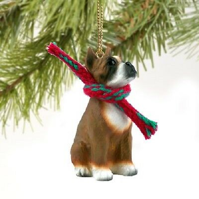 BOXER dog HAND PAINTED ORNAMENT Figurine NEW brown CROPPED resin puppy Christmas