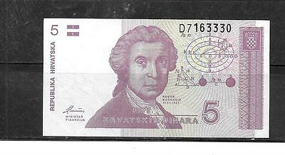 CROATIA #17a UNCIRCULATED MINT 5 DINARA BANKNOTE NOTE BILL PAPER MONEY CURRENCY
