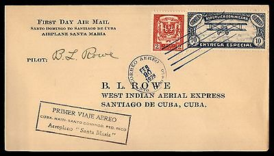 Dominican Repbucic 1928 Santa Maria First Flight Cover Autographed by Pilot