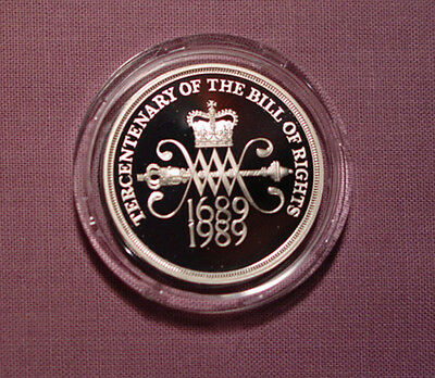 1989 Royal Mint Silver Proof Bill Of Rights £2 Coin - Fdc