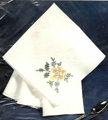 Blue Ribbons Napkins ~ Set of 4 Stamped for Embroidery ~ Bucilla 63150