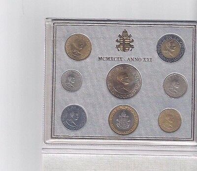 Vatican Coins Official 8 Coin Mint Set 1999  Anno 21