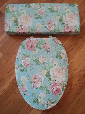 Pastel Aqua Blue Teal Cyan Soft Dusty Pink Rose Bathroom Toilet Seat Cover Set