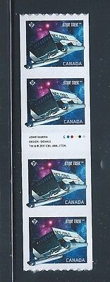 Canada #2985ii Coil Gutter of 4 Star Trek Year 2 MNH Free Shipping