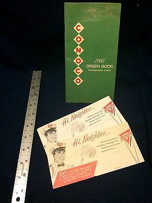 Conoco 1966 Green Book for passenger cars; station advertising cards
