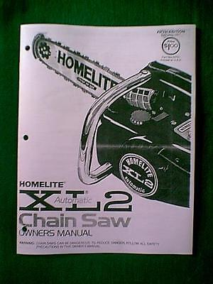 Homelite Chain Saw Xl2 Owner's With Parts Manual