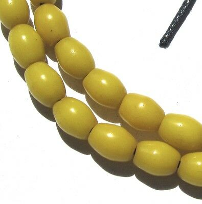 33 Rare Small Amazing Old Yellow Oval Antique Beads African Trade