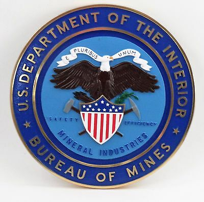 """1990s 15"""" US Department of the Interior Bureau of Mines Mineral Industries Seal"""