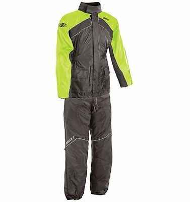 Joe Rocket Rs2 Mens Motorcycle Rain Suit Large Black Hi-Viz Top And Bottoms