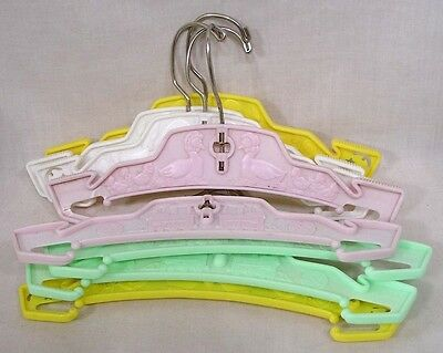Vintage LOT Eight Childs Clothes Hangers Nursery Subjects Plastic Pink Green Ylw
