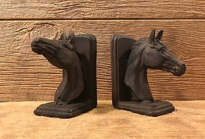 "Cast Iron Rustic Horse Head Bookends 6"" tall Western Home Decor 0170S-04671"