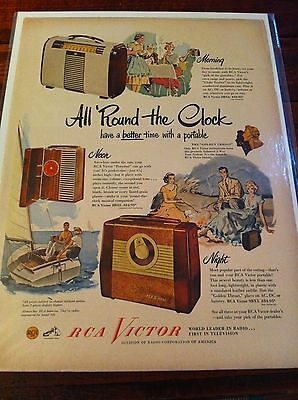 Vintage 1949 RCA Victor Portable Radio All Round The Clock Print ad