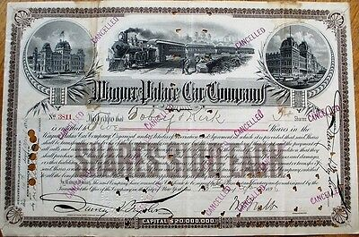 Wagner Palace Car Co. 1896 Railroad Stock Certificate- WILLIAM S. WEBB Autograph