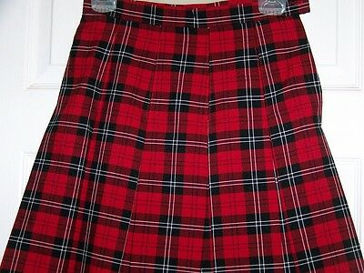 Girls size 10 School Uniform Skirt NEW Plaid #70 Pleated style 143 USA Red Black