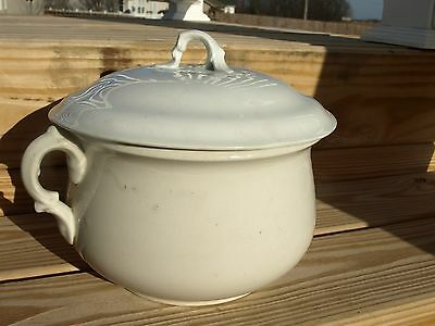 Antique Ceramic Chamber Pot and Lid. Stamped Warranted on the Bottom