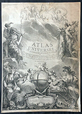1757 De Vaugondy Large Antique Atlas Title Page for Atlas Universal - Globe
