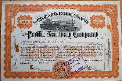 'Chicago, Rock Island & Pacific Railway / Railroad Co.' 1915 Stock Certificate