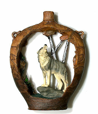 """Wolves cutout in vase look figurine made of polystone 7"""" high x 5"""" wide"""