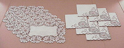 Vintage Tan Madeira Embroidery Linen Placemats Napkins