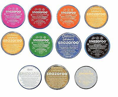Snazaroo Professional Water-Based Face & Body Paint - 11 Classic Colours - 18ml