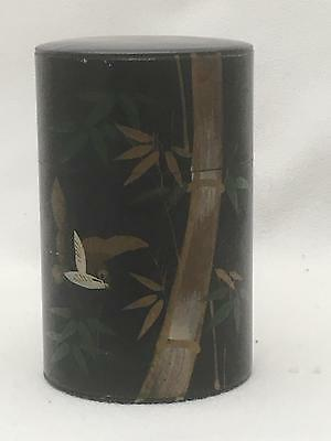 Lovely Antique Hand Painted Tin Tea or Spice Caddy BIRD & BAMBOO Design